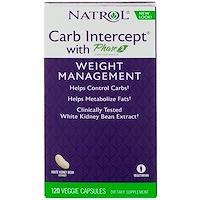 Natrol, 탄수화물 차단제, 페이즈2 -흰 강낭콩, 120캡슐