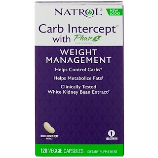 Natrol, Phase 2 White Kidney Bean Carb Intercept، منظم الكربوهيدرات، 120 كبسولة خضروات