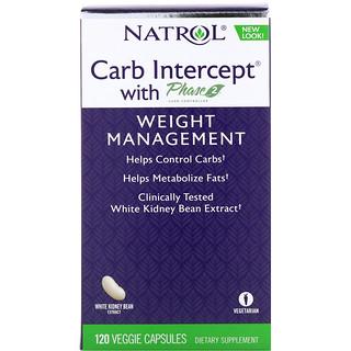 Natrol, Carb Intercept, 2 단계 탄수화물 조절제 함유, 120 식물성 캡슐