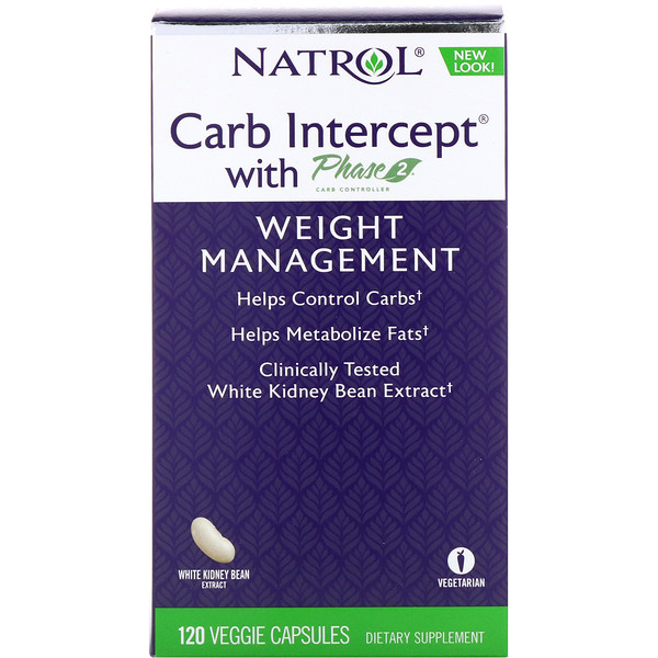 Natrol, Carb Intercept with Phase 2 Carb Controller, 1,000 mg, 120 Veggie Capsules