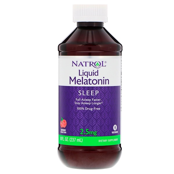Natrol, Liquid Melatonin, Raspberry, 2.5 mg, 8 fl oz (237 ml)