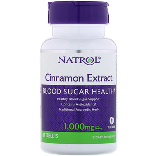 Natrol, シナモンエキス, 1000 mg, 80錠