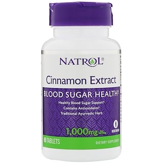 Natrol, Cinnamon Extract, 1,000 mg, 80 Tablets