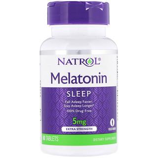 Natrol, Melatonina, Mais Força, 5 mg, 60 Tabletes