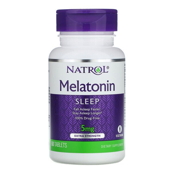 Natrol, Melatonin, extra stark, 5 mg, 60 Tabletten