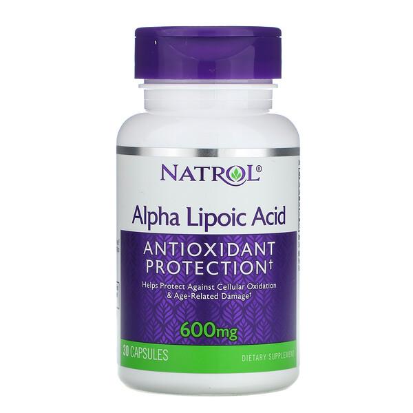 Natrol, Ácido alfa lipoico, 600 mg, 30 cápsulas