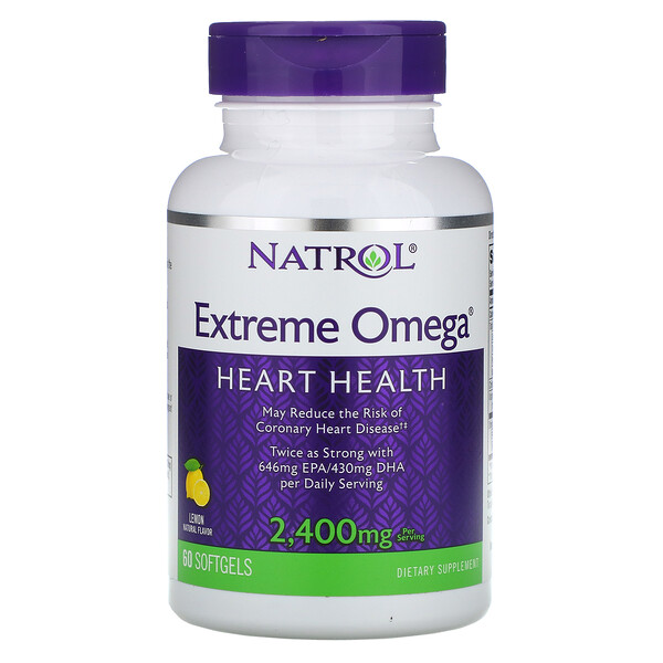 Natrol, Extreme Omega, Lemon, 2,400 mg, 60 Softgels