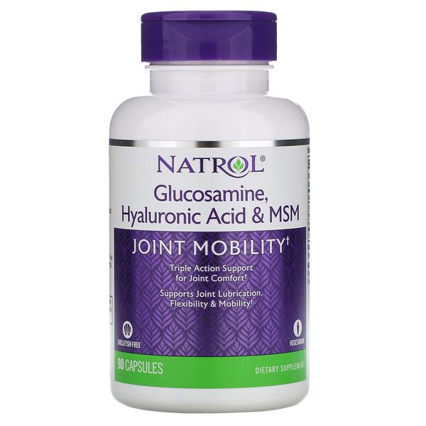 Glucosamine, acide hyaluronique et MSM, 90 gélules