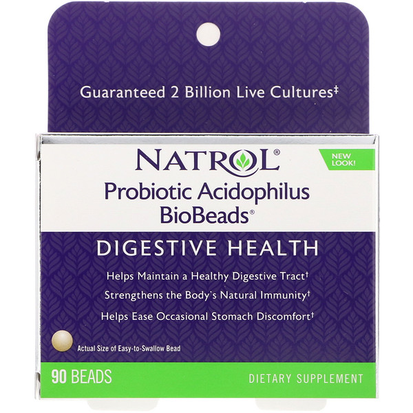 Natrol, Probiotic Acidophilus BioBeads, 90 Beads (Discontinued Item)