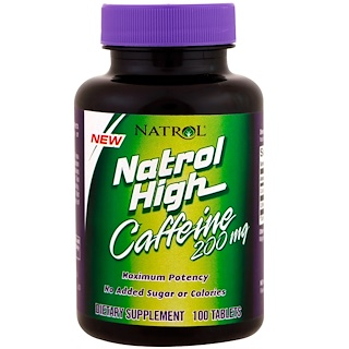 Natrol, Natrol High Caffeine, 200 mg, 100 Tablets