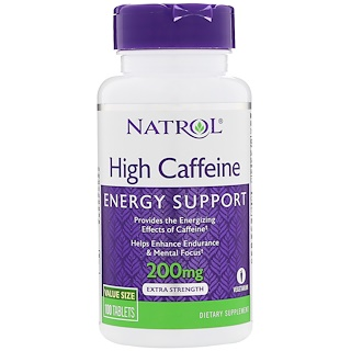 Natrol, High Caffeine, 200 mg, 100 Tablets