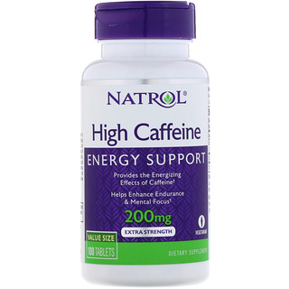 Natrol, High Caffeine, Extra Strength, 200 mg, 100 Tablets