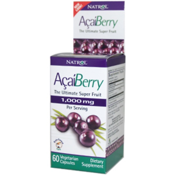 Natrol, Acai Berry, 1000 mg, 60 Veggie Caps (Discontinued Item)