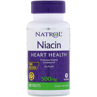 Natrol, Niacin, Time Release, 500 mg, 100 Tablets