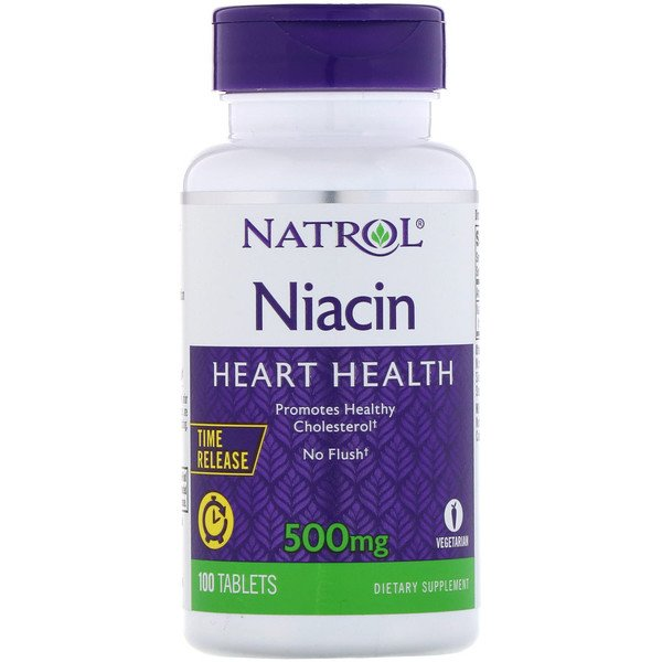 Natrol, Niacin, Time Release, 500 mg, 100 Tablets (Discontinued Item)