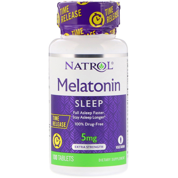 Natrol, Melatonin, Time Release, Extra Strength, 5 mg, 100 Tablets