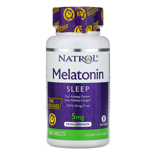 Melatonin, Time Release, Extra Strength, 5 mg, 100 Tablets