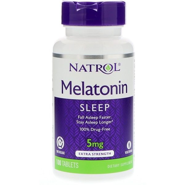保健品退黑激素Melatonin, 5 Mg:Natrol, Melatonin, Time Release, 5 mg, 100 Tablets