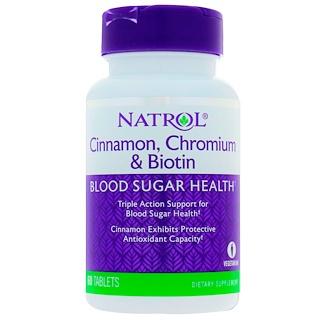 Natrol, Cannelle, chrome et biotine, 60 Comprimés