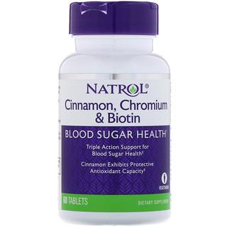 Natrol, Canela, Crômio e Biotina, 60 Comprimidos