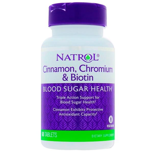 Natrol, Canela, cromo y biotina, 60 comprimidos