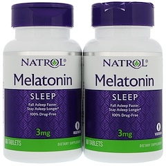 Natrol, Melatonin, 3 mg, 2 Bottles, 60 Tablets Each