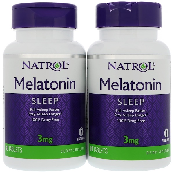 Natrol, Melatonin, 3 mg, 2 Bottles, 60 Tablets Each