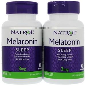 Нэтрол, Melatonin, 3 mg, 2 Bottles, 60 Tablets Each отзывы