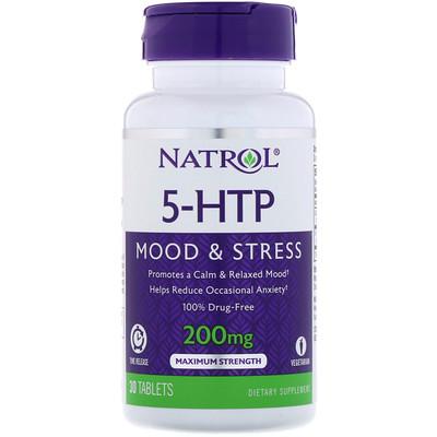 Купить 5-HTP, медленное высвобождение, максимальная сила, 200 мг, 30 таблеток
