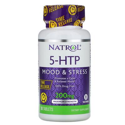 Купить Natrol 5-HTP, медленное высвобождение, максимальная сила, 200 мг, 30 таблеток