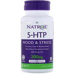 Natrol, 5-HTP, libération prolongée, force maximale, 200 mg, 30 comprimés