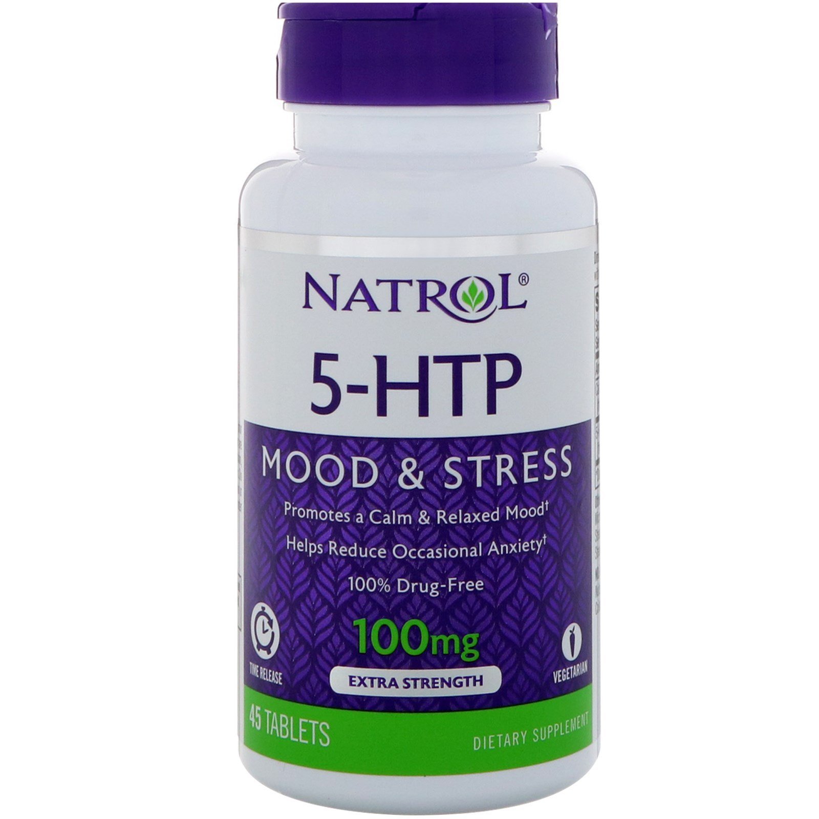 Natrol, 5-HTP, Time Release, Extra Strength, 100 mg, 45 ...