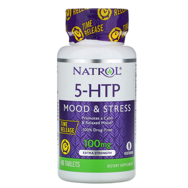 Natrol, 5-HTP, Time Release, Extra Strength, 100 mg, 45 Tablets