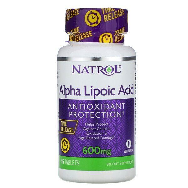 Alpha Lipoic Acid, Time Release, 600 mg, 45 Tablets