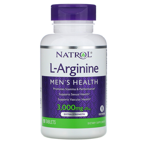 Natrol, L-Arginine, Extra Strength, 3000 mg, 90 Tablets