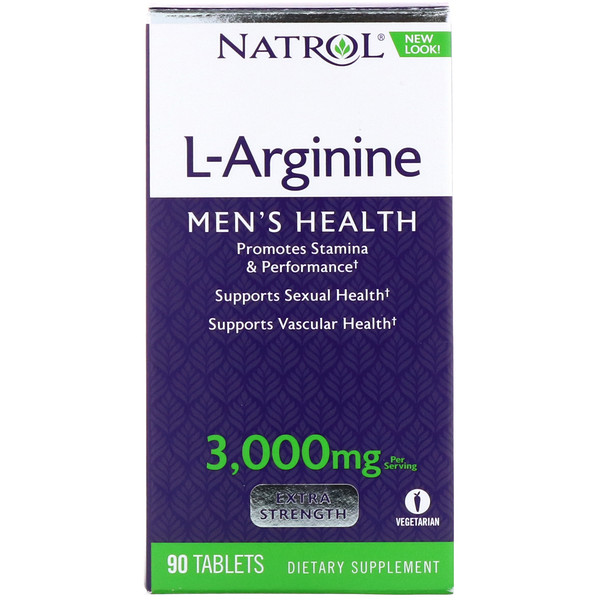 Natrol, L-Arginine, Extra Strength, 3,000 mg, 90 Tablets