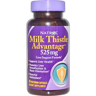 Natrol, ナトロール, Milk Thistle Advantage, 525 mg, 60 Veggie Caps