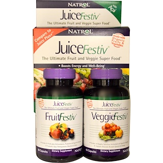 Natrol, JuiceFestiv, The Ultimate Fruit and Veggie Super Food, 2 Bottles, 60 Capsules Each