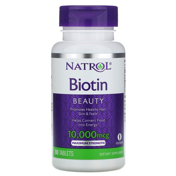 Biotin, Maximum Strength, 10,000 mcg, 100 Tablets