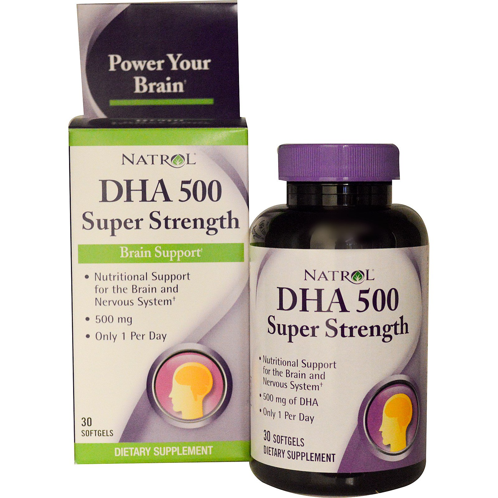 Natrol, ДГК 500, повышенная сила действия, поддержка мозга, 500 мг, 30 гелевых капсул