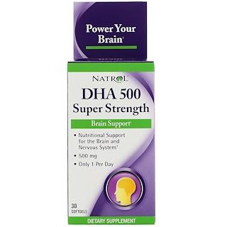 Natrol, DHA 500, Super Strength, Brain Support, 500 mg, 30 Softgels