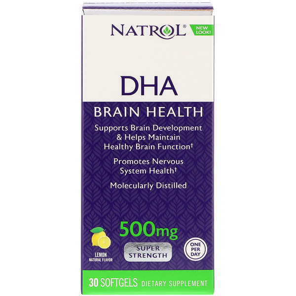 Natrol, DHA, Brain Health, Lemon, 500 mg, 30 Softgels