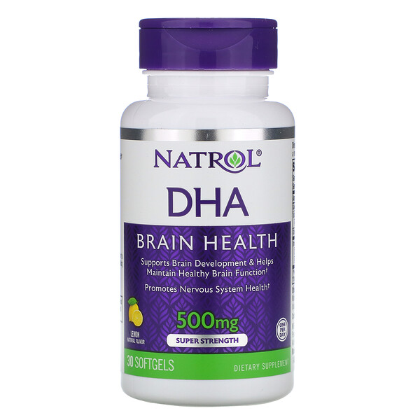 DHA, Brain Health, Lemon, 500 mg, 30 Softgels