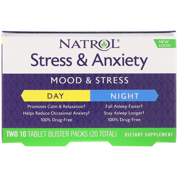 Natrol, Stress & Anxiety, Day & Night, Two 10 Tablet Blister Packs (20 Total)