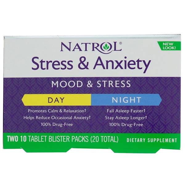 Natrol, 壓力與焦慮,白天與晚上,每泡罩包裝 10 片