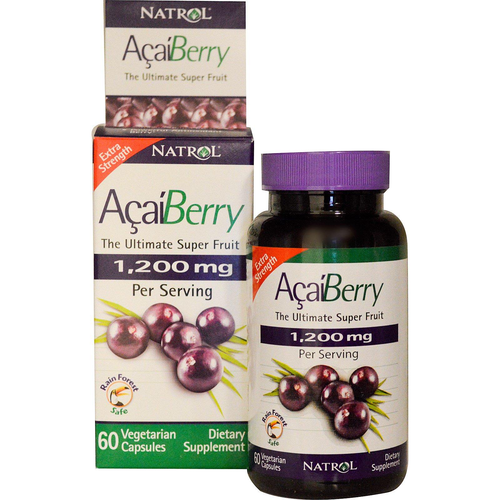 Natrol, Ягода асаи, Питательный плод, Экстра действие, 1200 мг, 60 капсул