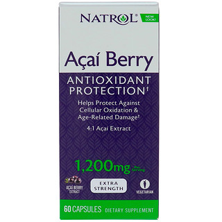 Natrol, AcaiBerry, Super Strength, 1,200 mg, 60 Capsules