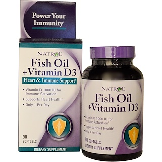 Natrol, Fish Oil + Vitamin D3, Heart & Immune Support, 90 Softgels