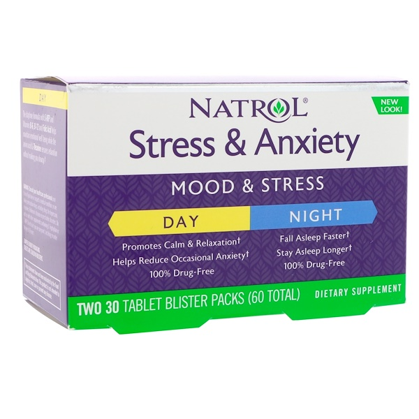 Natrol, Stress & Anxiety, Day & Night, Two 30 Tablet Blister Packs (60 Total)