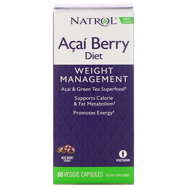 Natrol, AcaiBerry Diet, Acai & Green Tea Superfoods, 60 Veggie Capsules